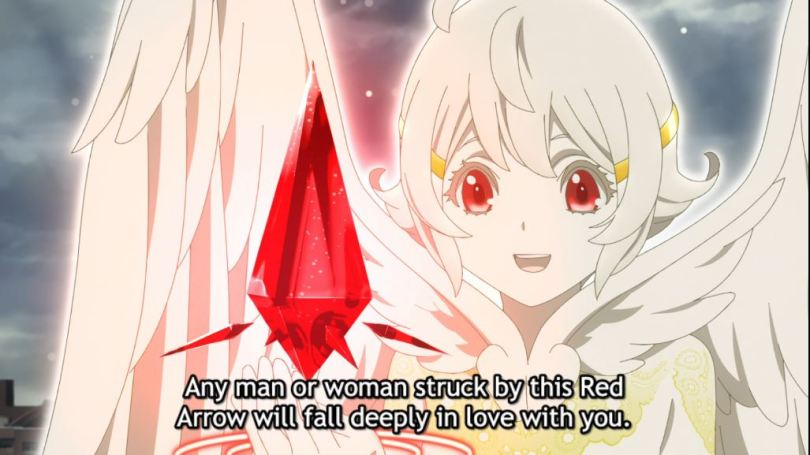 Nasse holding up a red crystal. subtitle: Any man or woman struck by the Red Arrow will fall deeply in love with you