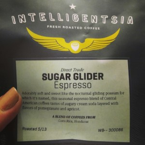 intellegentsia's sugar glider coffee bean package