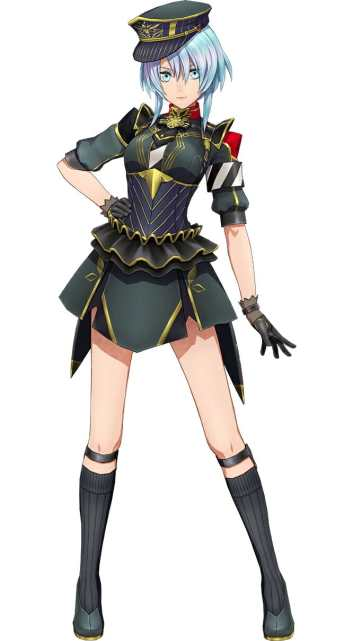 Sakura Wars B.L.A.C.K. Character Visual depicting a blue-haired girl in a black military uniform. She's wearing a hat.