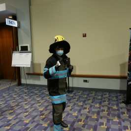 Photo of a cosplayer dressed as Maki from Fire Force at Otakon 2021