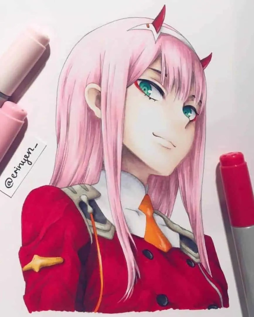 Zero Two Drawing Tutorial by Anime Ignite : #zerotwo by Us