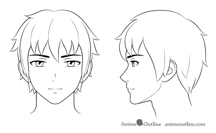 How to Draw Anime and Manga Male Head and Face | Anime Outline
