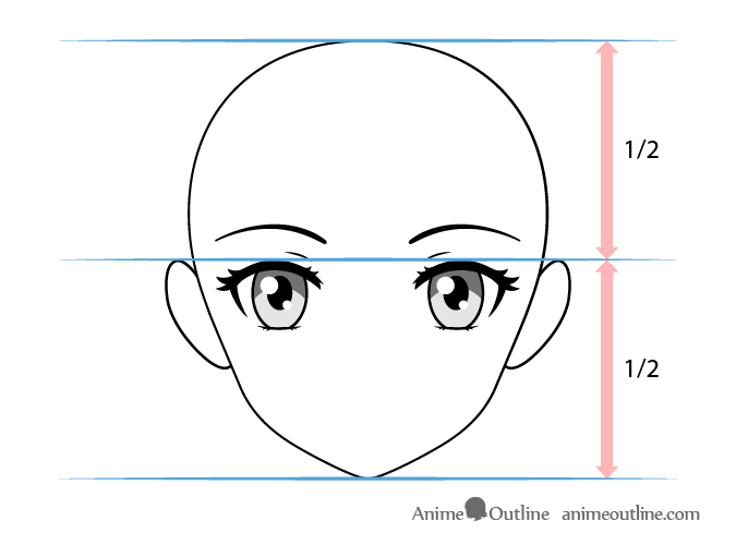 Female anime eyes vertical placement