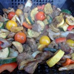 Barbequed Grill Basket Beef and Vegetables
