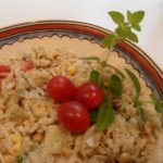 Orzo with Marinated Artichoke Hearts, Tomatoes, Corn, and Oregano Pesto