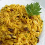 Orzo with Indian Spices, Almonds and Raisins