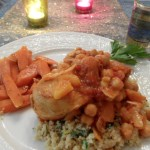Moroccan Chicken with Apricots, Figs & Couscous with Fresh Mint, Lemon and Almonds