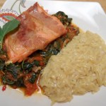 Salmon Wrapped in Prosciutto with Kale, Tomato and Basil Sauce