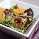 Moroccan Salad with Pomegranates, Oranges, Dates, Almonds and a Pomegranate Balsamic Vinaigrette