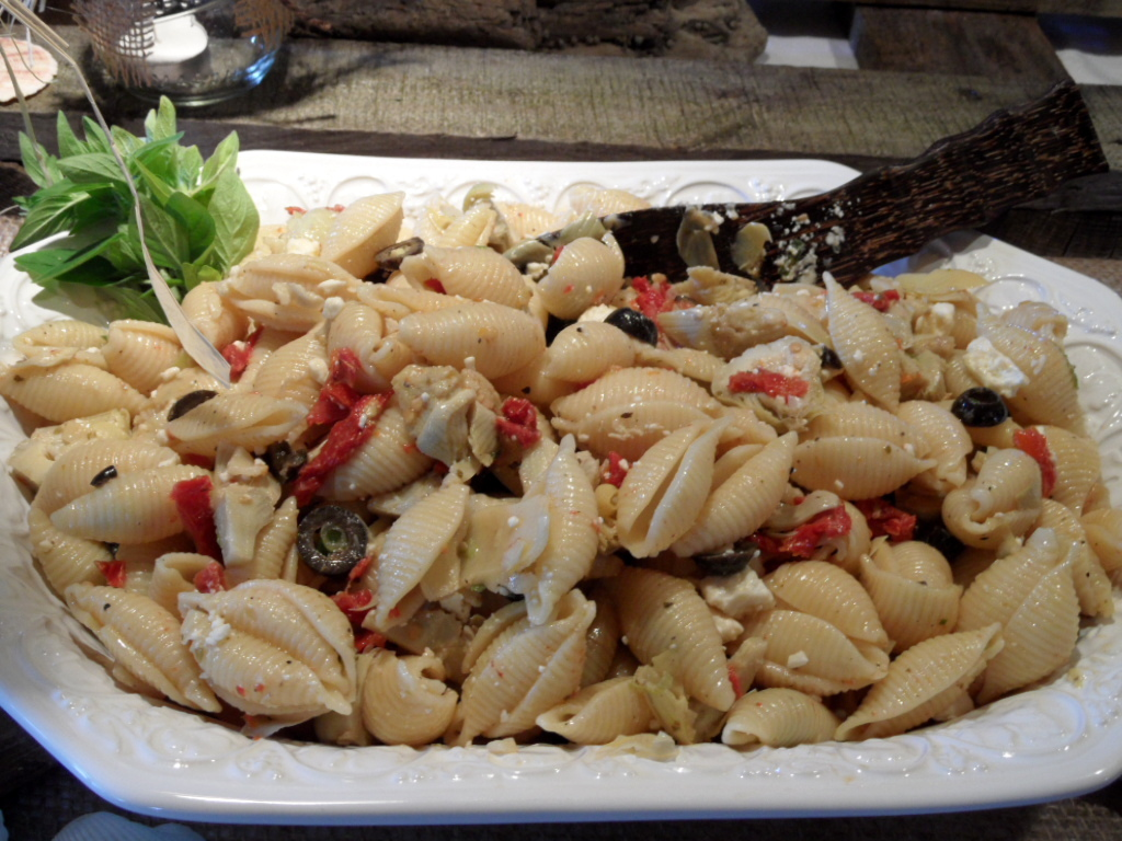 Pasta Salad With Artichoke Hearts Sundried Tomatoes Feta Cheese And Nicoise Olives
