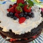 Chocolate Cake with Fresh Berries with Vanilla Whipped Cream