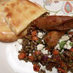 Merguez Sausage with Lentils du Puy Pilaf, Mint and Feta Cheese
