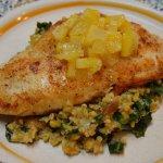 Meyer Lemon Glazed Catfish with Ginger Collard Greens and Cracked Freekeh Salad