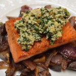 Salmon with Spinach-Walnut Pesto with Purple Potato & Red Onion Hash
