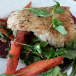 Dukkah Spiced Cod with Warm Beet, Carrot, Almond and Arugula Salad