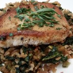 Pork Chops with Farro, Fig, Kale and Tarragon Pilaf