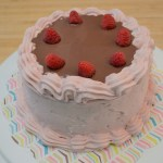 Chocolate Cake with Fresh Raspberry Buttercream and Chocolate Ganache
