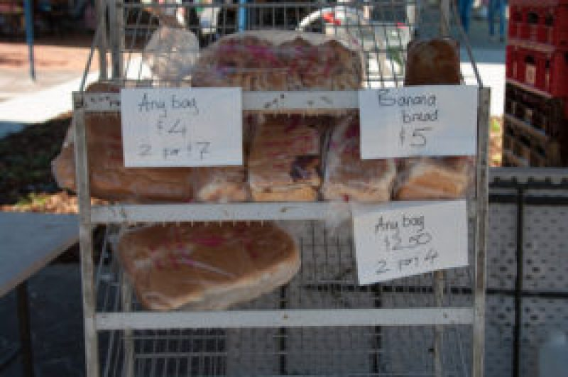 Baked bread and banana bread at the Cleveland Markets, Brisbane SE Australia