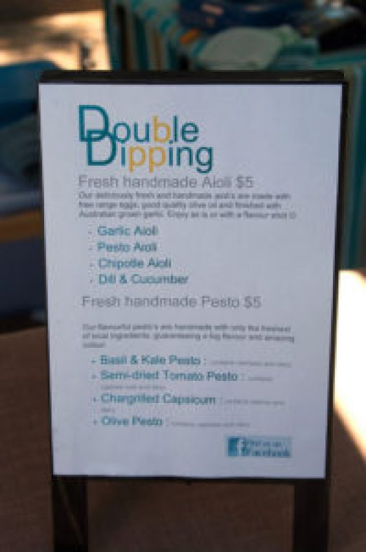 Double Dipping Aoli and Pesto at the Cleveland Markets, Brisbane SE Australia
