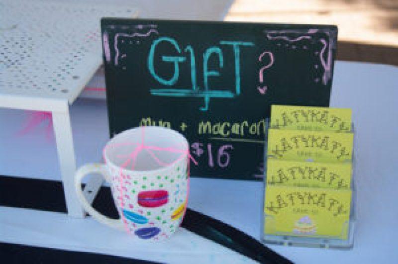 KatyKaty Cake Co. Macaron set with mug at the Cleveland Markets, Brisbane SE Australia