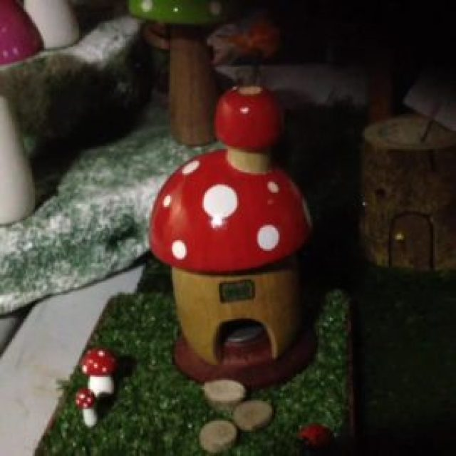 Woodrock Turning - Mushroom house with smoke from incense cone