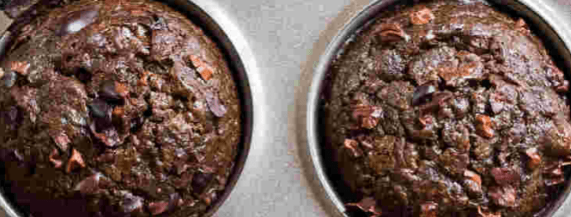 Keto Chocolate Zucchini Muffins Recipe Topped With Cacao Nibs