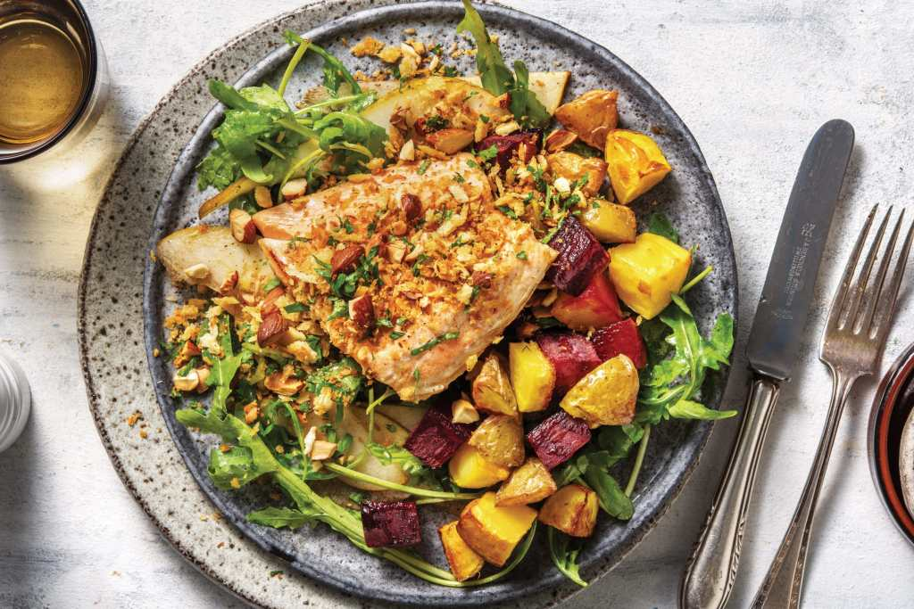 Recipe: Seared Salmon & Garlic-Almond Crumb with Pear Salad