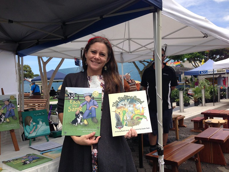 Michelle Worthington with the books 'Each The Same' and 'The Bedtime Band