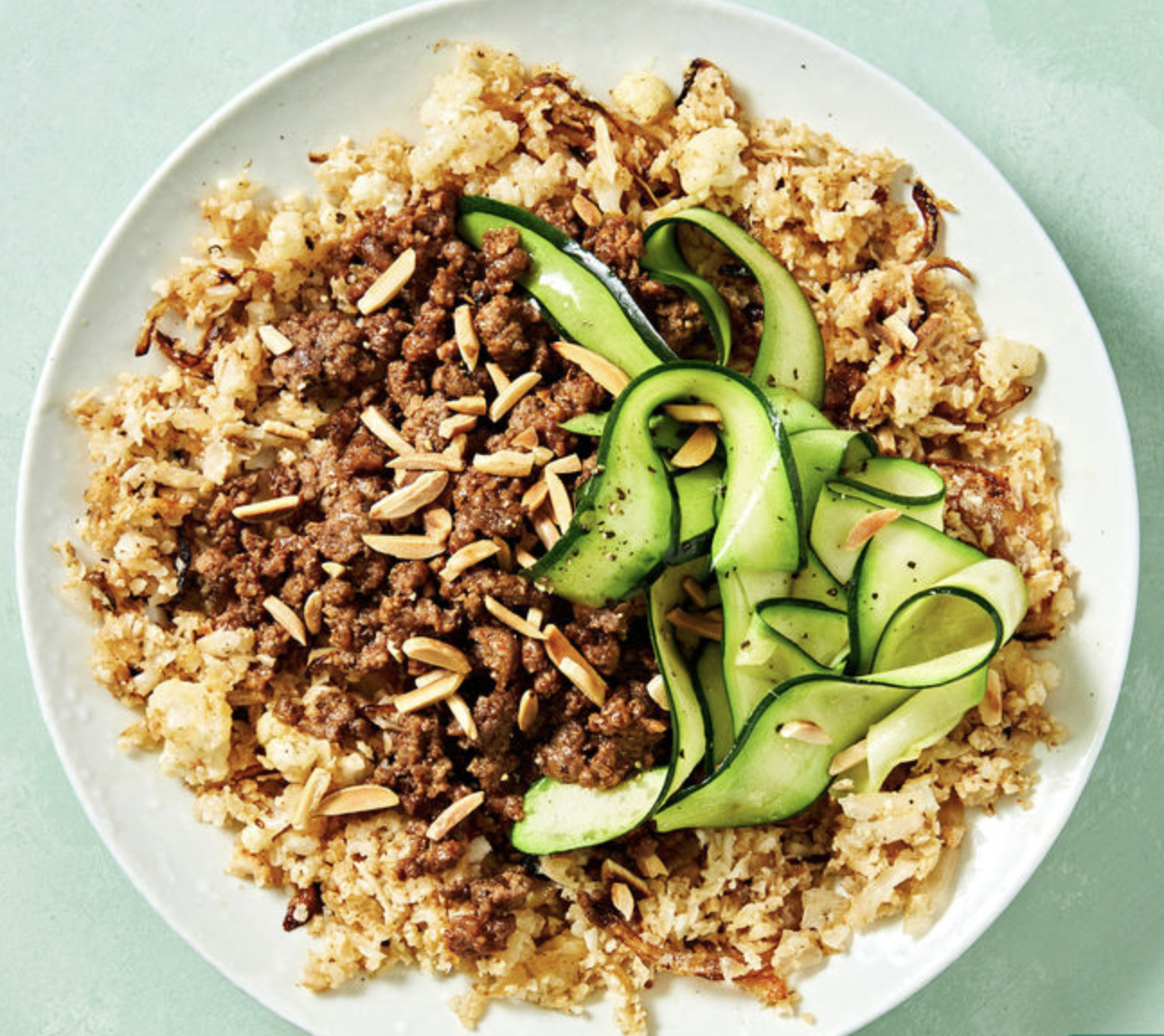 Reduced-Carb Middle Eastern Lamb with Cauliflower 'Rice' and Almonds