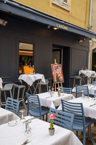 Restaurants in der Rue de Halles in Ajaccio, Korsika, Foto Anita Arneitz, www.anitaaufreisen.at