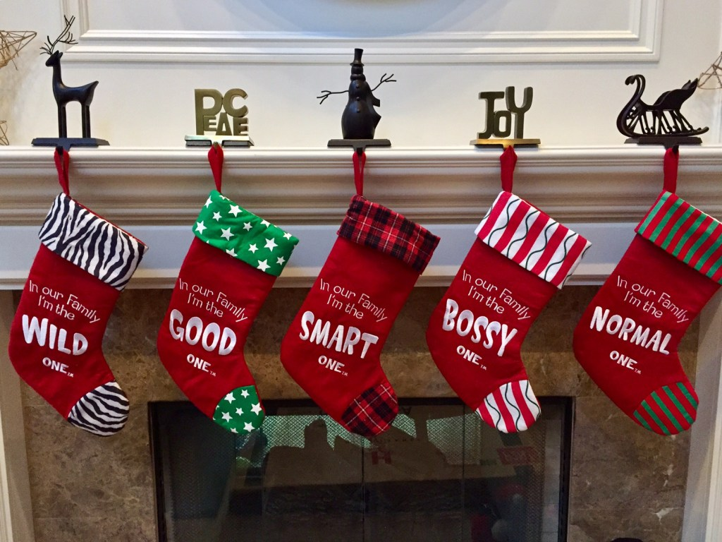 Meet our family, summed up in Christmas stockings.