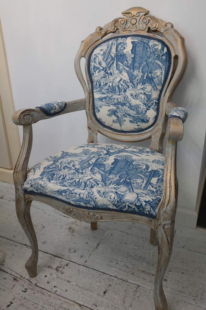 French Louis Style Rococo Dining Bedroom Chair French Toile Fabric