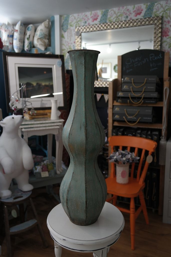 Turquoise Metal Vase