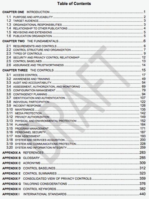 NIST 800-53 r5 TOC