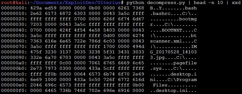 Ulterius fileindex.db hex output