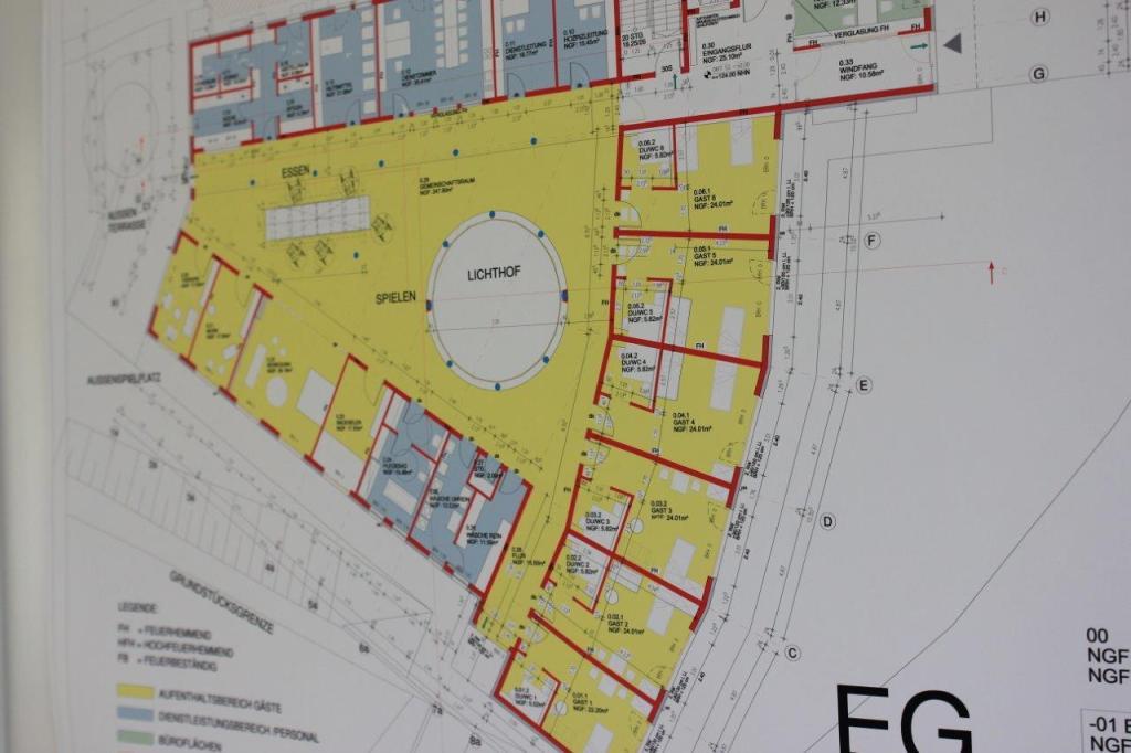 Bauplan Erdgeschoss Kinderhospiz Sonnenherz