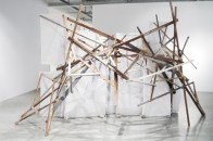 Inextricable Intertangling, 2017 Mixed media on found fabrics and wooden scaffolding 10 feet x 15 feet x 8 feet