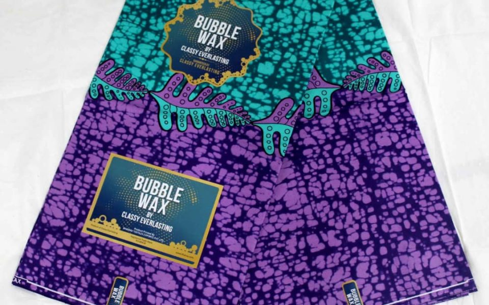Bubble wax ankara aqua purple