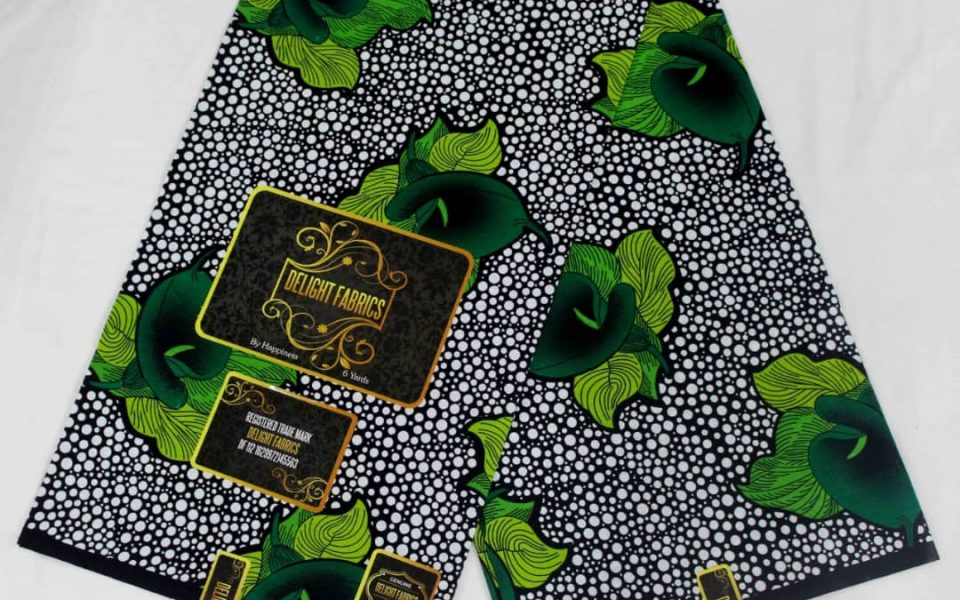 Delight Fabric Ankara Wax White Green Pattern