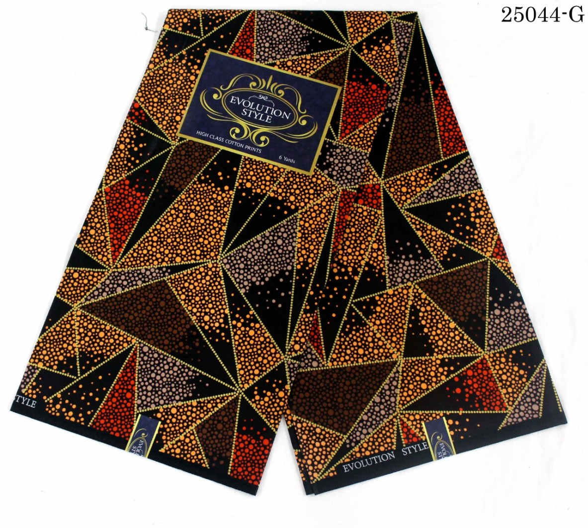 Evolution ankara fabric brown and dotted yellow-red colour pattern