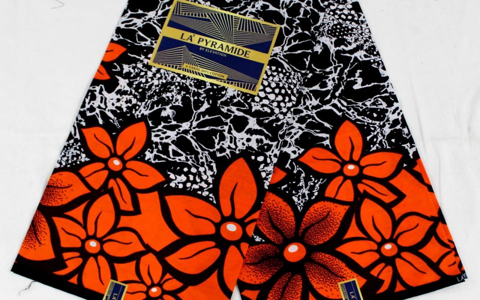 La Pyramide Ankara Fabric Black Orange flower Pattern