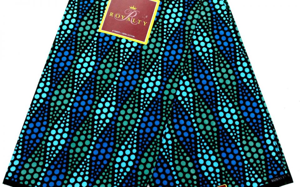 Royalty Ankara wax fabric blue and green