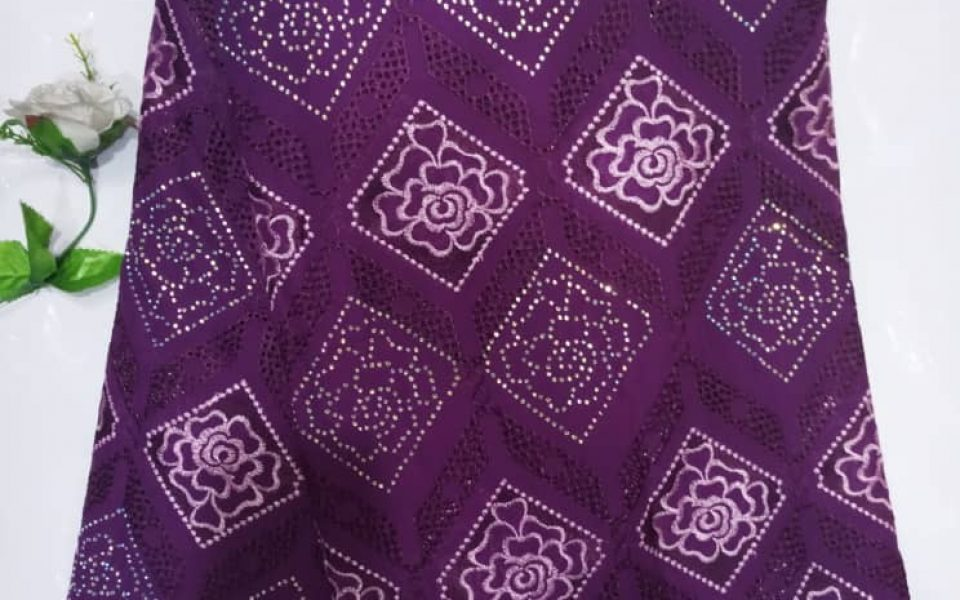 Voile Lace With Stones Purple
