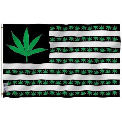 Marijuana leaf flag