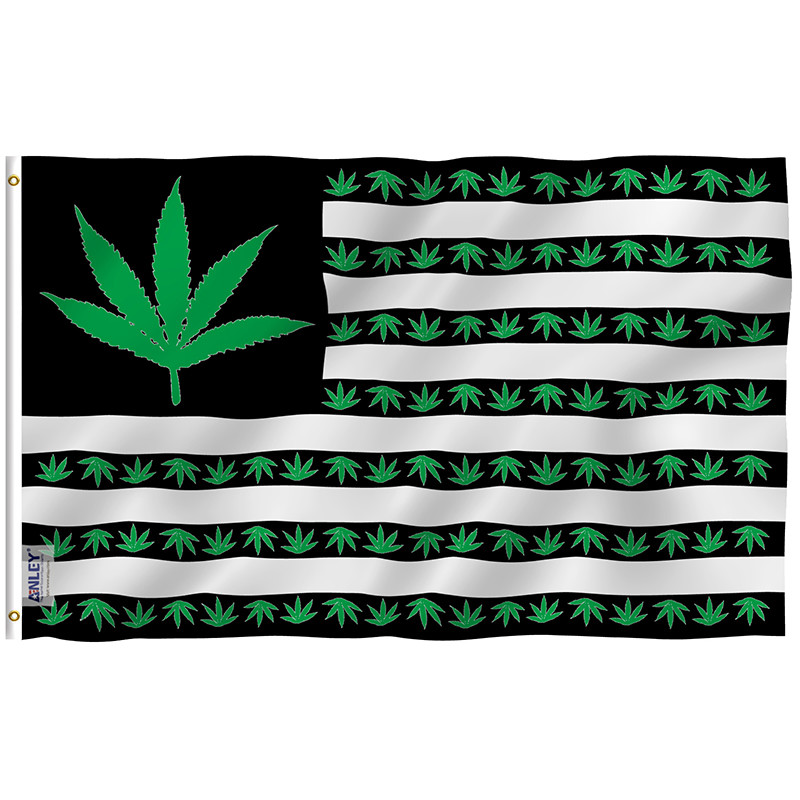 Marijuana leaf flag