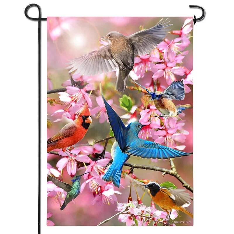 Flower bird garden flag