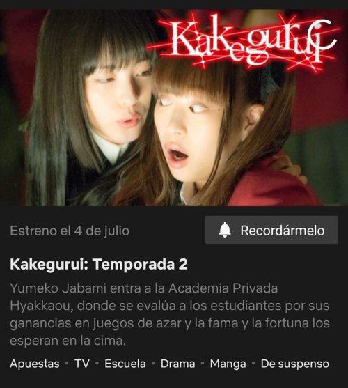 La segunda temporada del Live Action de Kakegurui ya tiene fecha de estreno