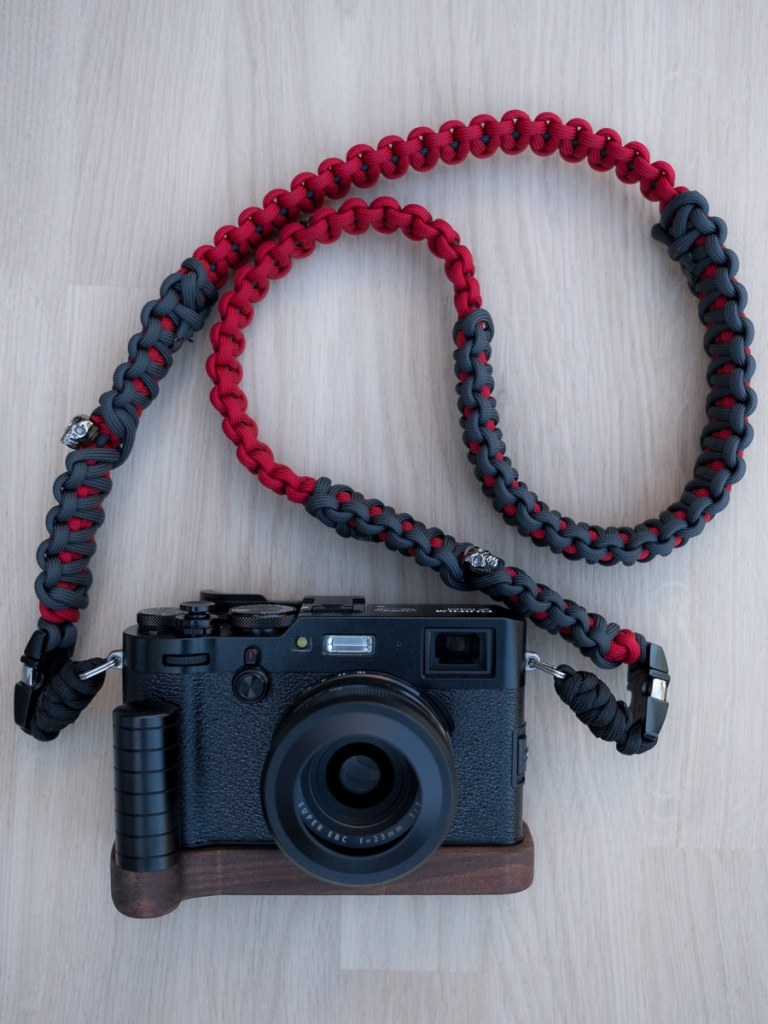 My Fuji X100F with accessories and self-made camera strap