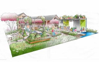 RHS Chelsea Flower Show Garden design sketch of the 绿灰色英国 garden