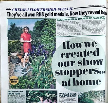 Garden Designer Ann-Marie Powell appears in The Daily Mail in an RHS Chelsea Special in her own garden in Petersfield, Hampshire